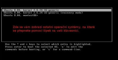 GRUB - seznam operačních systémů pro spuštění