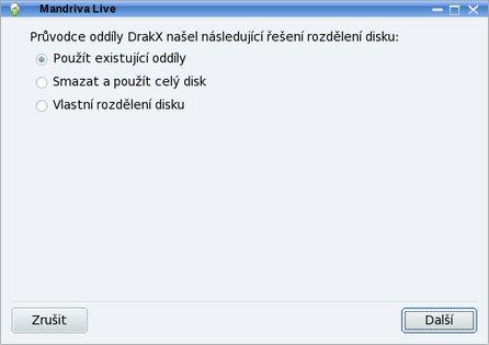 Možnosti rozdělení disku při instalaci distribuce Mandriva Linux 2009