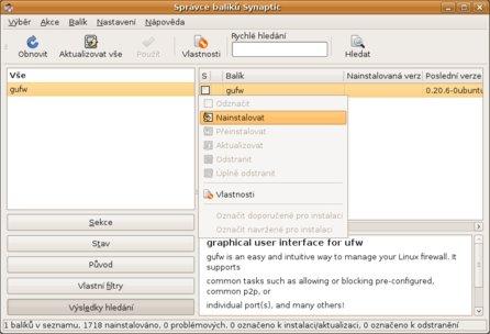 Správce balíků - výběr GUFW k instalaci v Synapticu