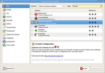 Výběr GUFW k instalaci pomocí přidat/Odstranit...