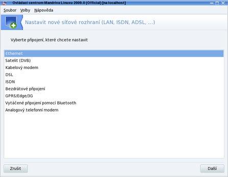 Nastavení sítí v Mandriva Linuxu 2009