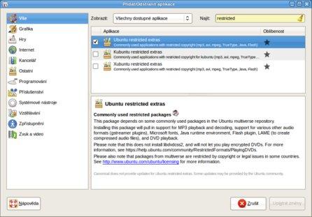 Ubuntu-restricted-extras - balík kodeků pro distribuci Ubuntu