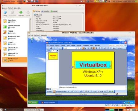 VirtualBox se spuštěným hostovaným systémem Windows XP