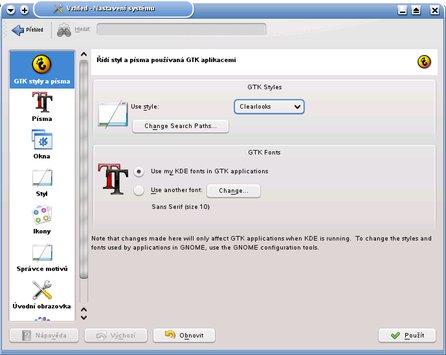 Nástroj pro úpravu vzhledu v OpenSuSE 11