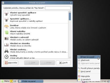 Přidání appletu na panel v Linux Mint 6