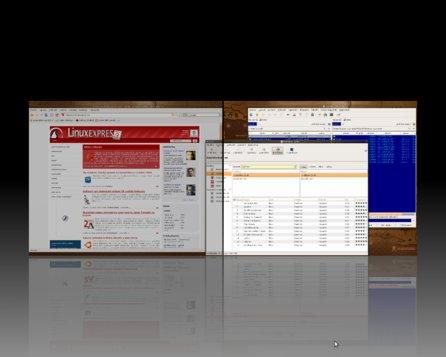 Zobrazení dvou ploch při efektu Expo v Compiz Fusion